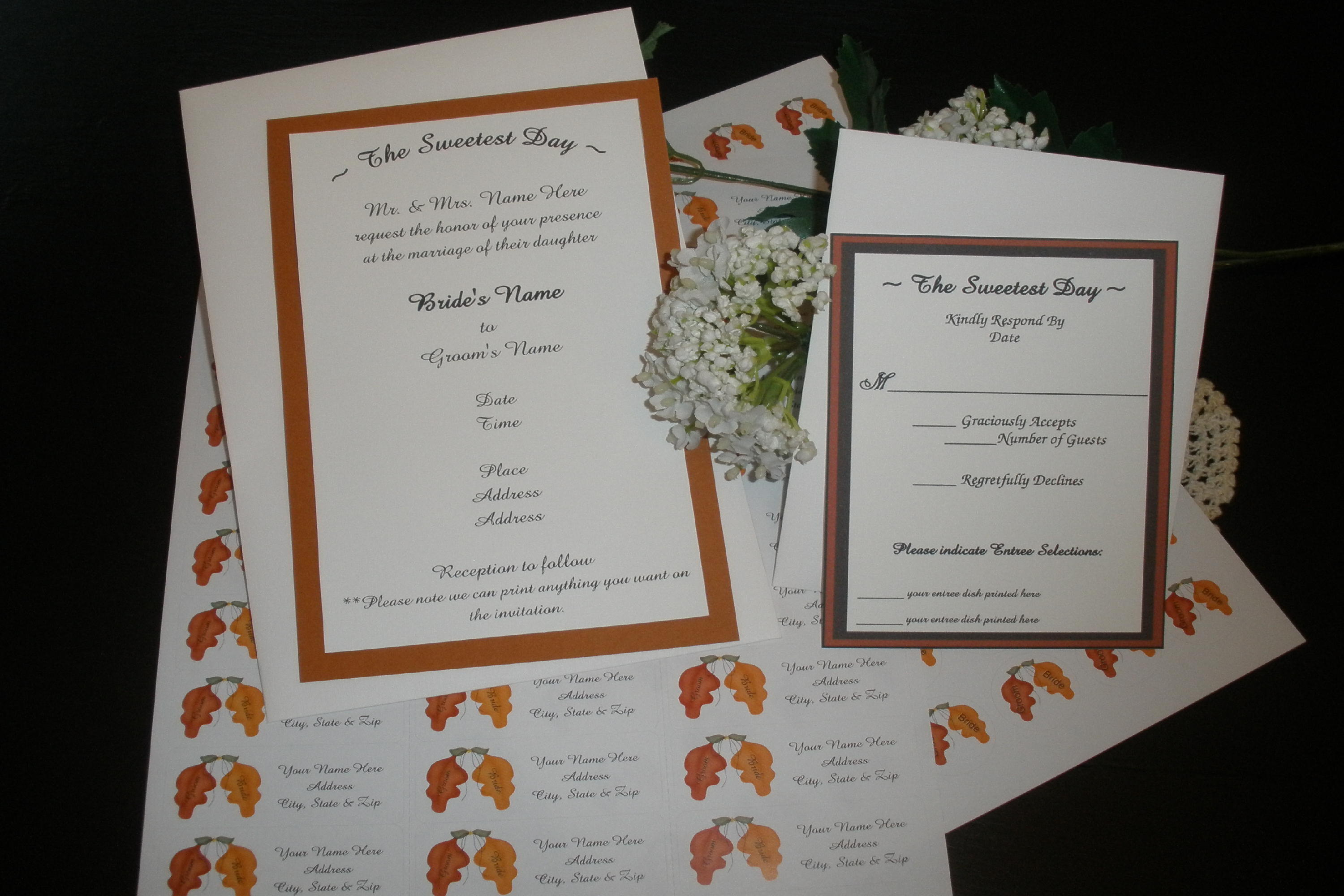 The Sweetest Day White Linen Wedding Invitations